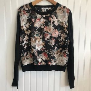 NWT Black Floral Long Sleeve Blouse by Lucy Paris